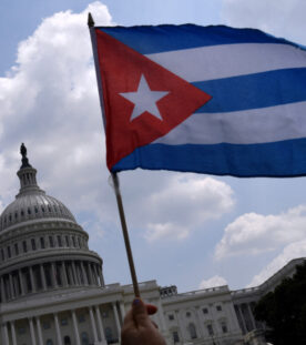 Cuban activists and supporters rally outside the US Capitol in Washington, DC on July 27, 2021. - Human rights groups accuse Cuba's rulers of using censorship and fear tactics to repress historic anti-government demonstrations -- the biggest protests since the revolution that brought Fidel Castro to power in 1959. (Photo by Olivier DOULIERY / AFP) (Photo by OLIVIER DOULIERY/AFP via Getty Images)